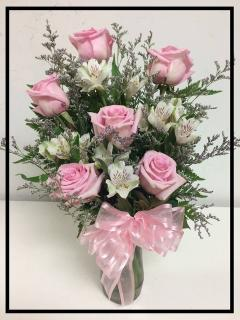SIX LOVELY PINK ROSES
