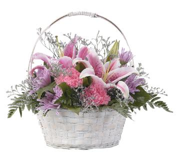 PRETTY BASKET IN PINK & LAVENDER