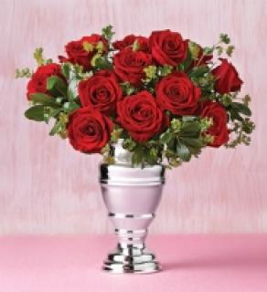 Gorgeous Red & Silver 1 Dozen Rose Bouquet