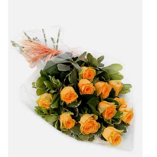 12 GOLDEN PEACHY ORANGE ROSES WRAPPED