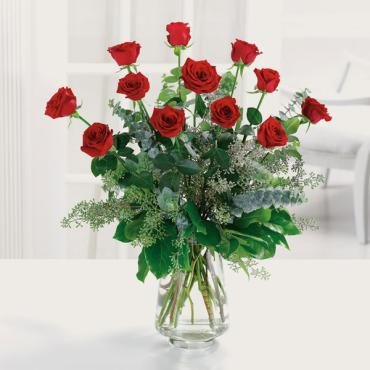 Dozen Red Roses With Eucalyptus