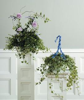 IVY BASKET WITH ROSE ACCENTS