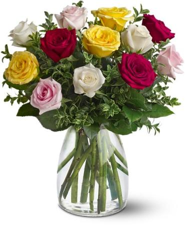 FANCY THIS! A Dozen Mixed Roses With Red