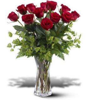 Modern Cut Glass Vase Red Rose Bouquet