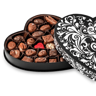BLACK SWIRL HEART ASSORTED CHOCOLATES12.25oz