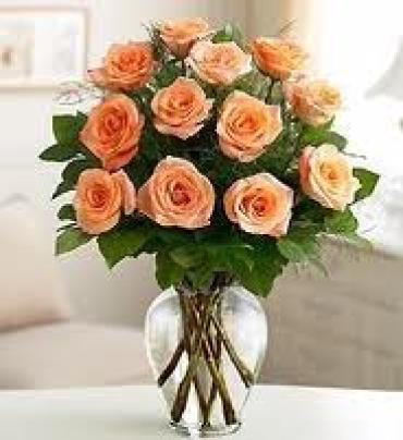 1 DOZEN LONG STEM PEACH ROSES WITH GREENERY