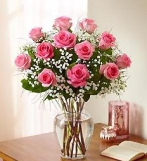 1 DOZEN PINK ROSE BOUQUET