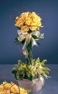 BRIGHT YELLOW ROSE TOPIARY