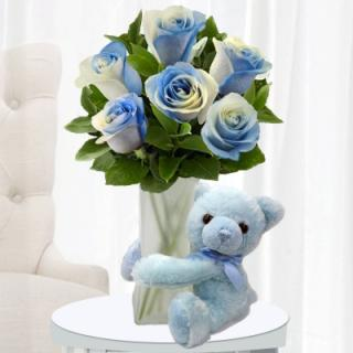 Blue Roses & Blue Bear for Baby Boy