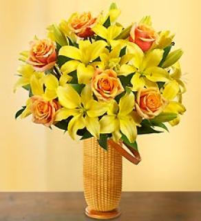 FALL ROSES AND LILIES IN A NANTUCKET BASKET