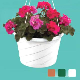OUTDOOR HANGING FLOWER BASKET WITH GERANIUMS