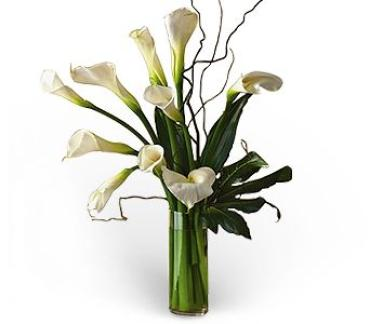 WOW! GREAT SPECIAL! CALLA LILY BOUQUET WITH CURLY WILLOW