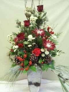 A SNOWY OWL WINTERY ARRANGEMENT