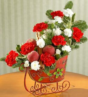 TRADITIONAL TIDING RED SLEIGH BOUQUET