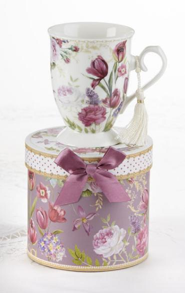 TULIP PORCELAIN TEA/COFFEE MUG GIFT BOXED