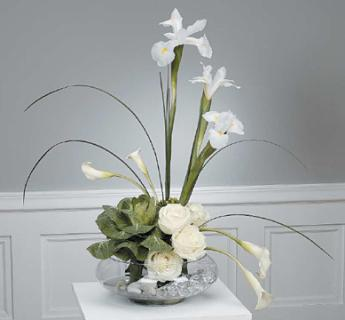 Stylized White Arrangement with Ornamental Cabbage