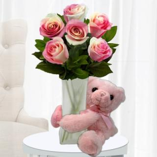 Pink Roses & Pink Bear For Baby Girl