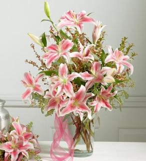 Vase Arrangement with Lilies for Sympathy