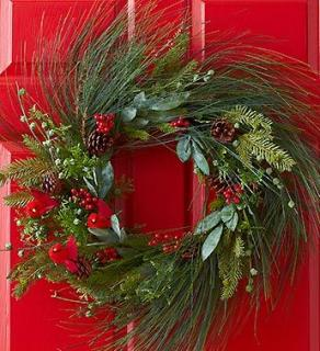 Winter Pine and Cardinal Wreath