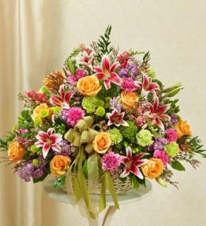 BASKET OF GARDEN BLOOMS FOR SYMPATHY