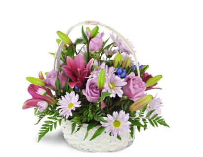 DREAMY BASKET OF ROSES AND LILIES FOR MOM