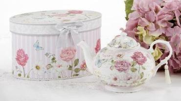 VICTORIAN GRACE PINK ROSE PORCELAIN TEAPOT 34 OZ GIFT BOXED
