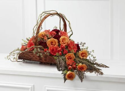 FIRESIDE SYMPATHY BASKET WITH ROSES