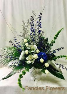 SYMPATHY FLORAL IN BLUE AND SILVER