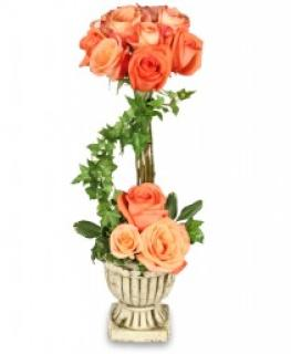 Peach Rose Topiary For Sympathy