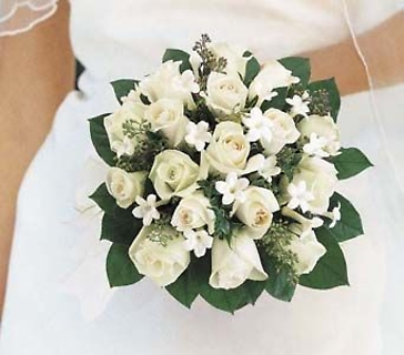 White Rose Bridal Bouquet With Stephanotis
