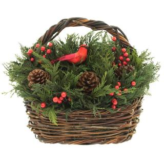 WINTER PINE, BERRY & Cardinal BASKET