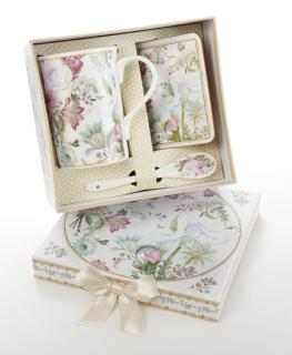 PASTEL ROSE PORCELAIN MUG-COASTER-SPOON SET GIFT BOXED