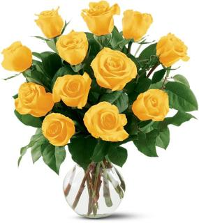 12 Yellow Roses Arranged With Greenery