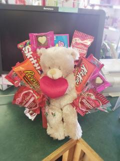 Valentine\'s Candy Bouquet with Plush Bear W/ Heart