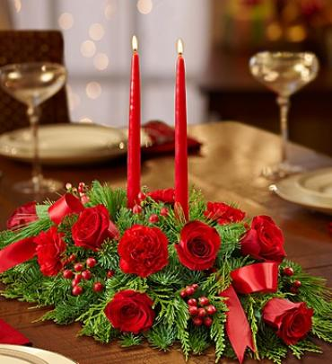 ALL RED CENTERPIECE WITH CANDLES