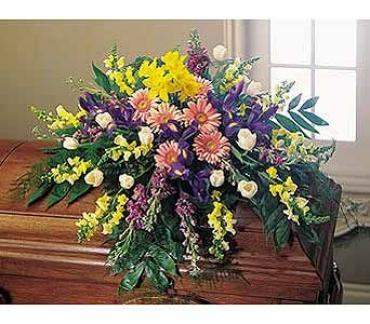 Spring Flowers In Bloom Casket Spray