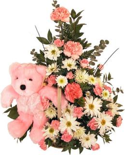 Baby Pink Basket With Pink Bear