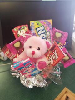Valentine\'s Candy Bouquet with Pink Bear
