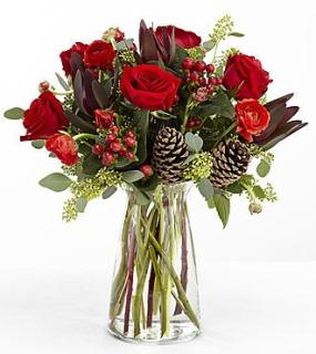 WINTERS RED ROSES & PINECONES FOR SYMPATHY