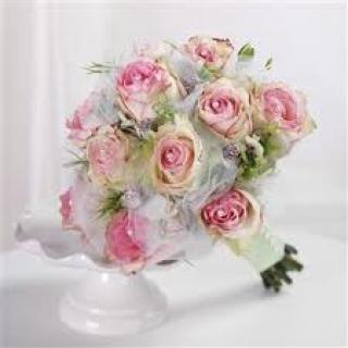 WEDDING BOUQUET WITH BI-COLOR PINK ROSES