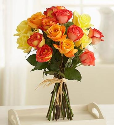 Multicolored Roses - 15 Stems
