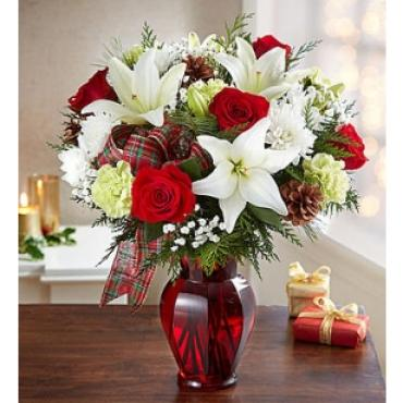 WINTERS GREETINGS WITH WHITE LILIES & RED ROSES