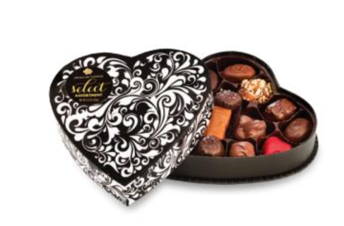 BLACK SWIRL HEART BOX ASSORTED CHOCOLATES 5.5oz