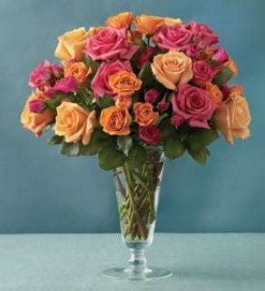 Pink & Orange Rose Bouquet
