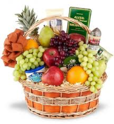 Gourmet & Fruit Basket With Pineapple