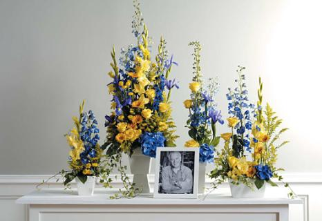 Blue And Yellow Memorial Arrangements