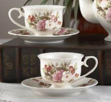 ENGLISH ROSE PORCELAIN TEACUP AND SAUCER