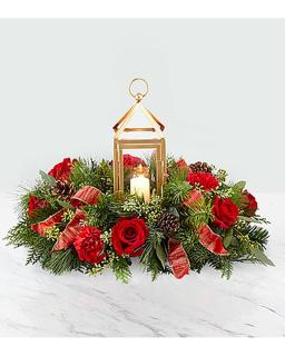 MATTE GOLD LANTERN RED ROSE CENTERPIECE