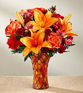 AUTUMN SPLENDOR BOUQUET IN STAIN GLASS VASE