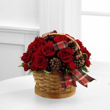 JOYOUS WINTER BASKET BOUQUET WITH RED ROSES